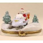 Santa on Snowmobile Limoges Box