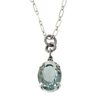 Catherine Popesco Faceted Indian Sapphire Oval Swarovski Crystal Pendant Necklace - 1414B-popseco - Handmade Celebrity Fashion Jewelry :  swarovski jewelry celebrity pendant
