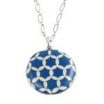 Catherine Popesco French Blue Enamel Quilt Pendant - 1462-Popesco - Handmade Celebrity Fashion Jewelry