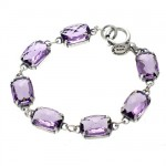 Faceted Tanzanite Swarovski Crystal Rectangle Bracelet