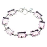 Light Amethyst Swarovski Crystal and Black Diamond Bracelet