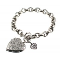 Catherine Popesco Heart Locket Bracelet with Clear Swarovski Crystals - 1681SH-popesco - Handmade Celebrity Fashion Jewelry