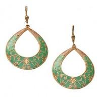 Catherine Popesco Emerald Enamel Teardrop Earrings - 3013G-popesco - Handmade Celebrity Fashion Jewelry