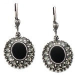 Black Enamel  Swarovski Crystal Oval Earrings