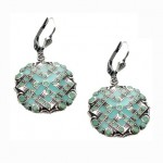 Catherine Popesco Enamel and Pacific Opal Swarovski Crystal  Earrings - 3068P-popesco - Handmade Celebrity Fashion Jewelry