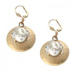 Hammered Disc and Swarovski Crystal Stone Earrings