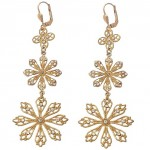 Clear Swarovski Crystal Triple Snowflake Earrings