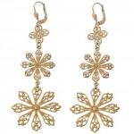 Clear Swarovski Crystal Triple Snowflake Earrings