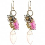 Pink Tourmaline, Black Mother of Pearl, and Rose Quartz Flower Earrings