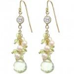 Prasiolite, Peridot, and Pearl Crystal Chain Earrings