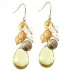 Lemon Citrine and Multi Gemstone Cluster Earrings