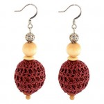 Crochet Over Wood Drop Earring
