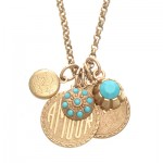 Amour, Oui,  and Locket Charm Necklace with Turquoise Crystals