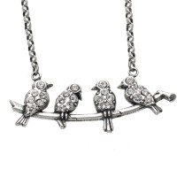 Catherine Popesco Clear Swarovski Crystal Songbird Necklace - 830-popseco - Handmade Celebrity Fashion Jewelry