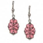 Pink Rose Enamel Swarovski Crystal Swirl Earrings