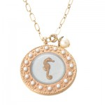 Enamel Seahorse and Pearl Bead Charm Necklace
