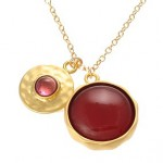 Carnelian and Tourmaline Disc Charm Necklace