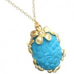 Carved Turquoise and Cubic Zirconia Flower Necklace