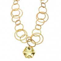 Kevia Artisan Cut Lemon Quartz Star Chain Necklace - ARTN103-kevia - Handmade Celebrity Fashion Jewelry :  star jewelry celebrity kevia