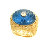 Blue Glass and Cubic Zirconia Filigree Ring