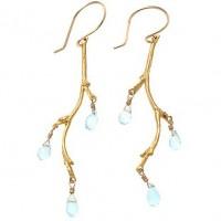 Catherine Weitzman Blue Topaz Branch Earrings - E179V-Weitzman - Handmade Celebrity Fashion Jewelry