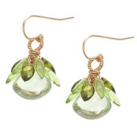 Misha of New York Green Amethyst Cabochon Drop Earrings Accented with Peridot Leaves - E286GATP-misha - Handmade Celebrity Fashion Jewelry
