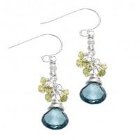 taj taj London Blue Topaz and Peridot Cluster Drop Earrings - E694S-tajtaj - Handmade Celebrity Fashion Jewelry