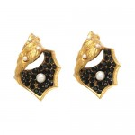 Gold Vermeil Onyx and Pearl Shell Earrings