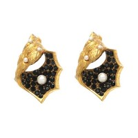 Pade Vavra Gold Vermeil Onyx and Pearl Shell Earrings - EBSC-pade - Handmade Celebrity Fashion Jewelry :  pearl jewelry pade vavra jewellery