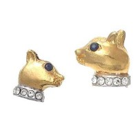 Pade Vavra Cat Stud Earrings with Sapphire Eyes and Crystal Collar - ECG-pade - Handmade Celebrity Fashion Jewelry