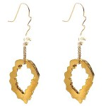 Gold Vermeil Geode Earrings Accented with Freshwater Pearls