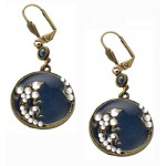 Sapphire Enamel Medallion Earrings