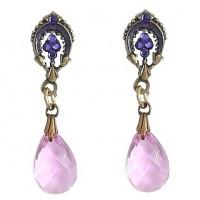 Anne Koplik Upside Down Horseshoe & Glass Drop Earring - ER6167TAZ-koplik - Handmade Celebrity Fashion Jewelry