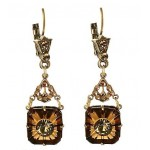 Topaz Glass and Swarovski Crystal Starburst Earrings