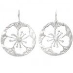 Hibiscus Flower Medium Disc Sterling Silver Earrings
