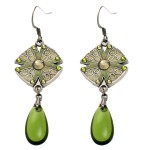 Anne Koplik Enamel Disc and Olivine Drop Earrings - ES8126OLI-koplik - Handmade Celebrity Fashion Jewelry