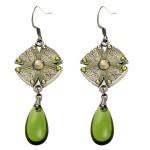 Anne Koplik Enamel Disc and Olivine Drop Earrings - ES8126OLI-koplik - Handmade Celebrity Fashion Jewelry