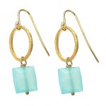 Blue Chalcedony Circle Earrings