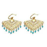 Flying Lizard Turquoise Fan Earrings - FL1066-lizard - Handmade Celebrity Fashion Jewelry
