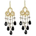 Labradorite and Jet Black Bead Drop Earrings