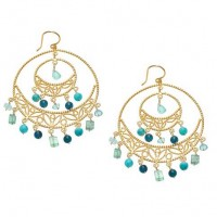 Flying Lizard Apatite Drop Double Hoop Earrings - FL1449-lizard - Handmade Celebrity Fashion Jewelry