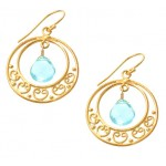 Blue Topaz Ornate Circle Earrings