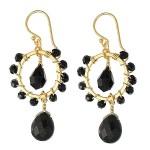 Jet Black Bead Drop Earrings