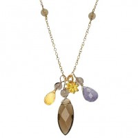 Flying Lizard Citrine, Tanzanite, and Smoky Quartz Flower Charm Necklace - FLN1782-lizard - Handmade Celebrity Fashion Jewelry