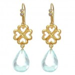 Ice Blue and Clear Cubic Zirconia  Heart Earrings