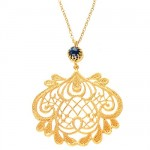 Blue Corundum Lace Chandelier Pendant Necklace