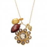 Smoky Quartz Flower Pendant Necklace with Garnet Drop and Flower Charm