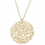 Coral Disc Pendant Necklace