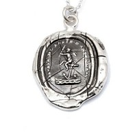 Pyrrha Cherub Wax Seal Pendant - N1901-18-pyrrha - Handmade Celebrity Fashion Jewelry