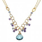 London Blue Topaz Pendant Accented with Iolite and Aquamarine Beads